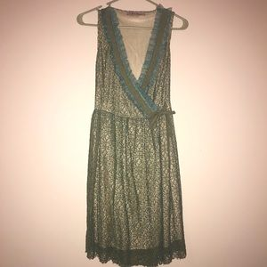 YOUNG ESSENCE mesh tie front dress